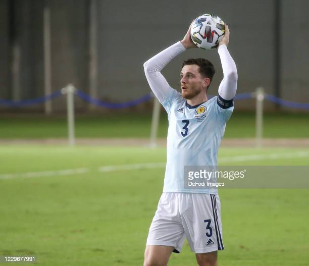 Andrew Robertson of Scotland throw-in during the UEFA Nations League group stage match between Israel and Scotland at Netanya Stadium on November 18,...