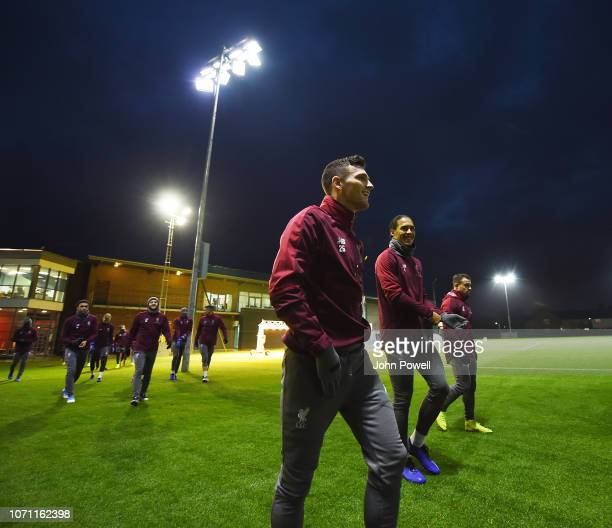 Andrew Robertson seen as Liverpool train ahead of tomorrows UEFA Champions League match against Napoli at Melwood Training Ground on December 10 2018...