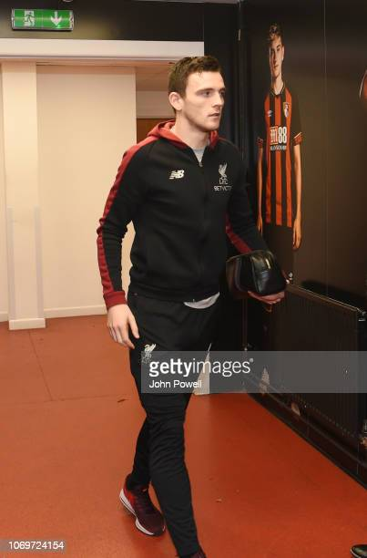 Andrew Robinson of Liverpool arrives for the the Premier League match between AFC Bournemouth and Liverpool FC at Vitality Stadium on December 8 2018...