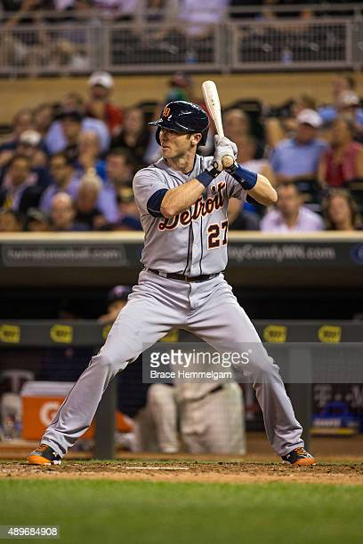 Andrew Romine of the Detroit Tigers bats against the Minnesota Twins on September 16 2015 at Target Field in Minneapolis Minnesota The Tigers...