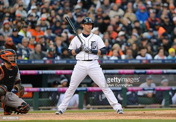 Andrew Romine of the Detroit Tigers bats during Game Three of the American League Division Series against the Baltimore Orioles at Comerica Park on...