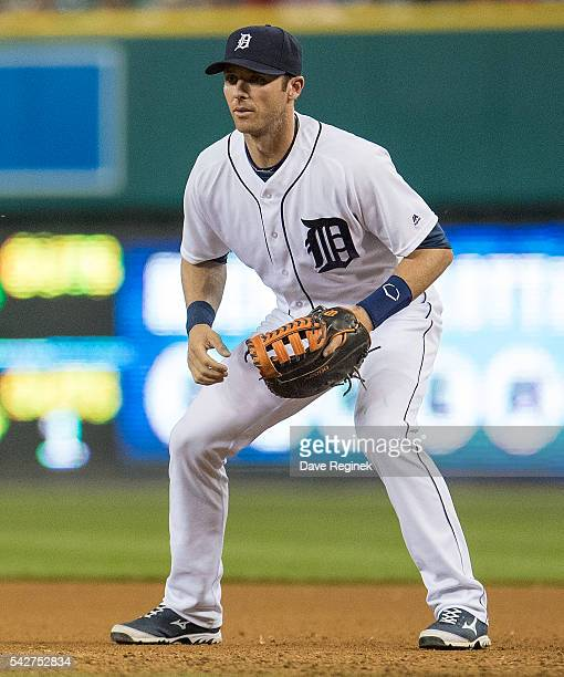 Andrew Romine of the Detroit Tigers gets set for the pitch in the eighth inning during a MLB game against the Chicago White Sox at Comerica Park on...