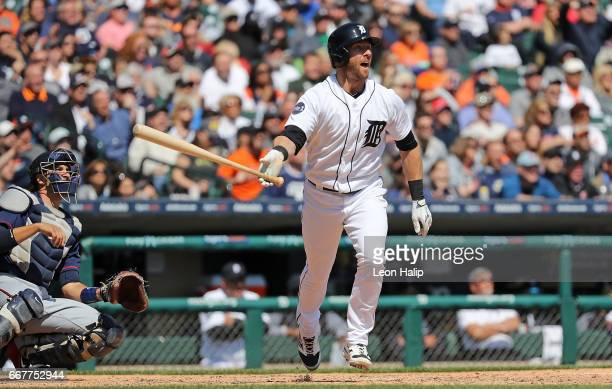 Andrew Romine of the Detroit Tigers hits a fourth inning grand slam during the game against the Minnesota Twins on April 12 2017 at Comerica Park in...