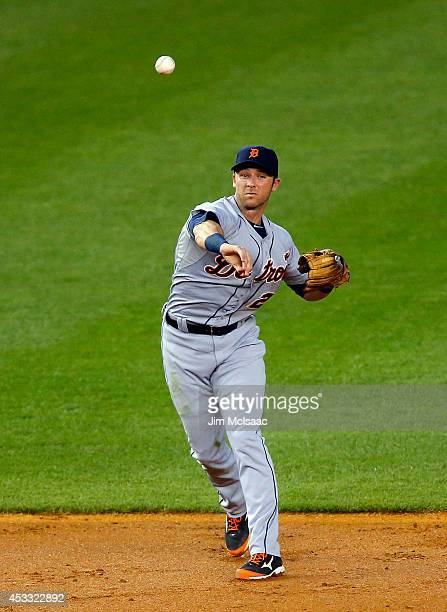 Andrew Romine of the Detroit Tigers in action against the New York Yankees at Yankee Stadium on August 5 2014 in the Bronx borough of New York City...