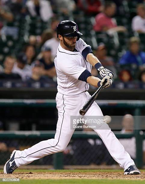 Andrew Romine of the Detroit Tigers singles against the Baltimore Orioles during the ninth inning at Comerica Park on September 10 2016 in Detroit...