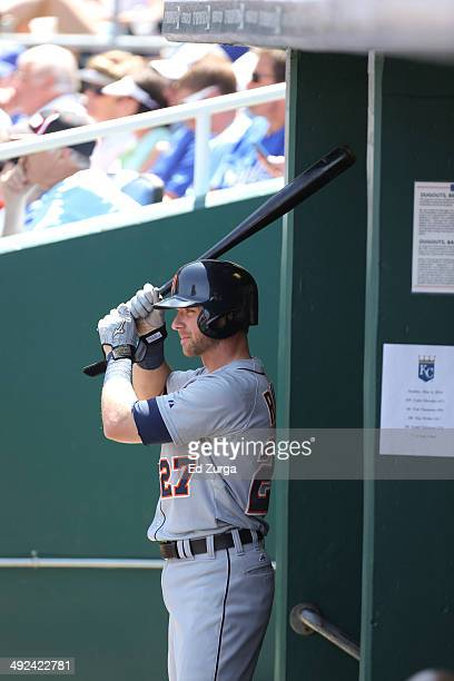 Andrew Romine of the Detroit Tigers warms up before batting against the Kansas City Royals at Kauffman Stadium on May 4 2014 in Kansas City Missouri
