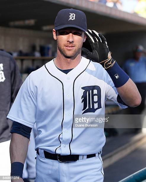 Andrew Romine of the Detroit Tigers waves to fans before a game against the Cleveland Indians at Comerica Park on June 24 2016 in Detroit Michigan