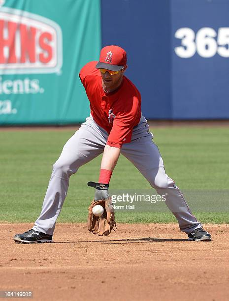 Andrew Romine of the Los Angeles Angels fields a bouncing ball against the Milwaukee Brewers at Maryvale Baseball Park on March 19 2013 in Maryvale...