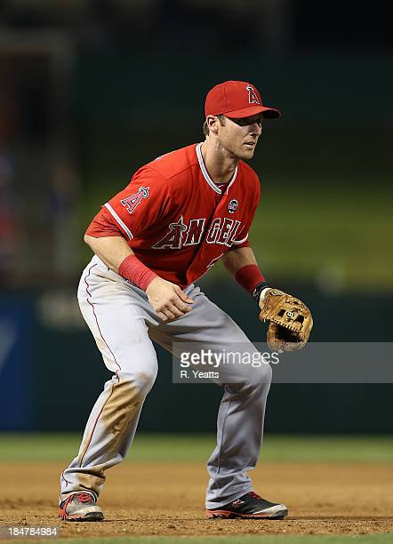 Andrew Romine of the Los Angeles Angels of Anaheim in action against the Texas Rangers at Rangers Ballpark on September 27 2013 in Arlington Texas