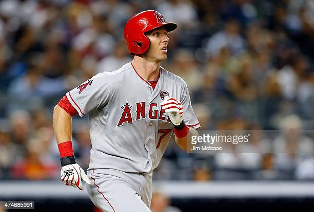 Andrew Romine of the Los Angeles Angels of Anaheim in action against the New York Yankees at Yankee Stadium on August 14 2013 in the Bronx borough of...