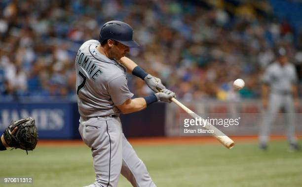 Andrew Romine of the Seattle Mariners hits a single to right field during the fourth inning of a game against the Seattle Mariners on June 9 2018 at...
