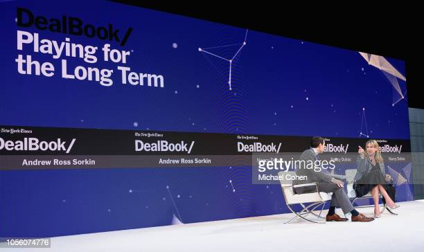 Andrew Ross Sorkin Editor at Large and Columnist The New York Times and Nancy Dubuc CEO of Vice Media speak onstage during the 2018 New York Times...