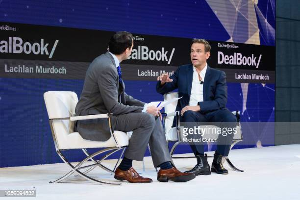 Andrew Ross Sorkin, Editor at Large and Columnist, The New York Times and Lachlan Murdoch, Executive Chairman, 21st Century Fox speak onstage during...