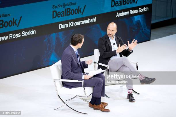 Andrew Ross Sorkin financial Columnist for The New York Times speaks with Dara Khosrowshahi CEO of Uber onstage at 2019 New York Times Dealbook on...