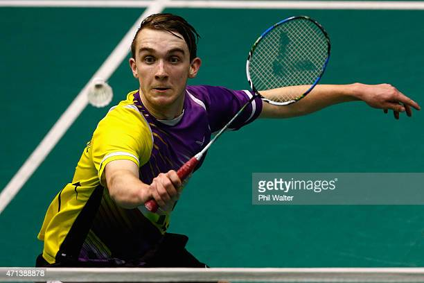Andrew Rouse of New Zealand plays a return during his qualifiaction match against Chee Foong Lim of New Zealand during the 2015 Badminton Open at...