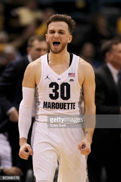 Andrew Rowsey of the Marquette Golden Eagles reacts in the second half against the St John's Red Storm at the BMO Harris Bradley Center on February...