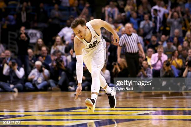 Andrew Rowsey of the Marquette Golden Eagles reacts in the second half against the Creighton Bluejays at the BMO Harris Bradley Center on March 3...