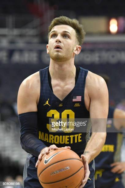 Andrew Rowsey of the Marquette Golden Eagles takes a foul shot during a college basketball game against the Georgetown Hoyas at the Capital One Arena...