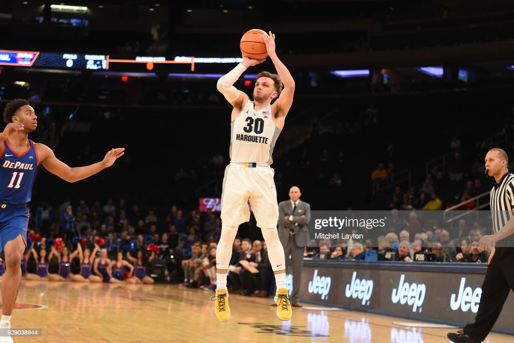 Andrew Rowsey #30 of the Marquette Golden Eagles takes a jump shot the first round of the Big East Men's Basketball Tournament against the DePaul Blue Demons at Madison Square Garden on March 7, 2018 in New York City. Photo by Mitchell Layton/Getty Images)
