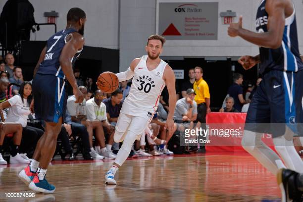 Andrew Rowsey of the Toronto Raptors handles the ball against the Minnesota Timberwolves on July 8 2018 at the Cox Pavilion in Las Vegas Nevada NOTE...
