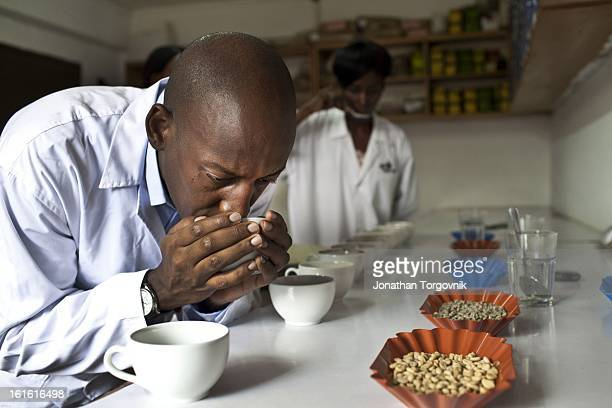Andrew Rugasira Chairman and CEO of Good African Coffee in the cupping lab at the Good African Coffee company's coffee factory on March 6 2012 in...