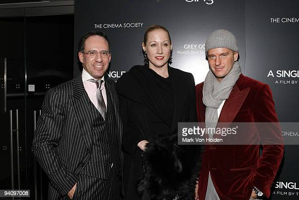 """Andrew Saffir, Amy Sacco and Daniel Benedict attend a screening of """"A Single Man"""" hosted by the Cinema Society and Tom Ford at The Museum of Modern..."""