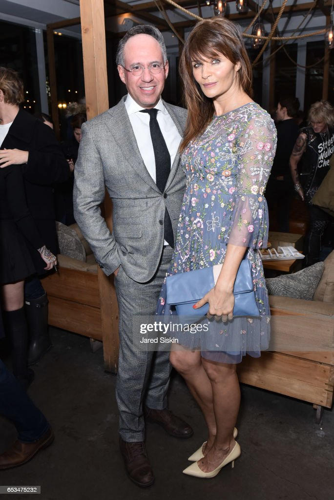 Andrew Saffir and Helena Christensen attend TriStar Pictures & The Cinema Society with 19 Crimes Host the After Party for 'T2 Trainspotting' at Mr. Purple at the Hotel Indigo LES on March 14, 2017 in New York City.