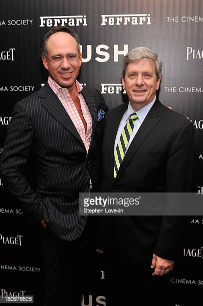 Andrew Saffir and President and CEO of Ferrari North America Larry Boland attend the Ferrari and The Cinema Society Screening of Rush at Chelsea...