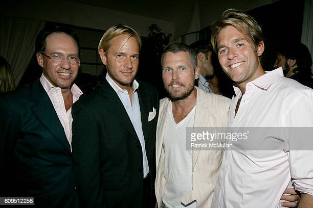 Andrew Saffir Daniel Benedict Bill Powers and Perry Moore attend DEBORAH NEEDLEMAN and ALLISON SAROFIM host cocktails to celebrate DOMINO THE FASHION...