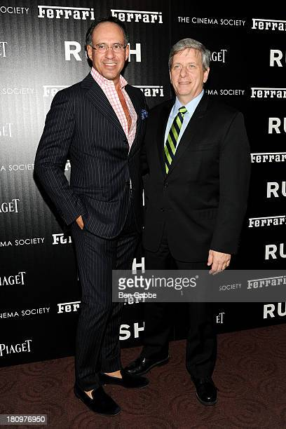 Andrew Safir and President and CEO of Ferrari North America Larry Boland attend the Ferrari The Cinema Society screening of Rush at Chelsea Clearview...