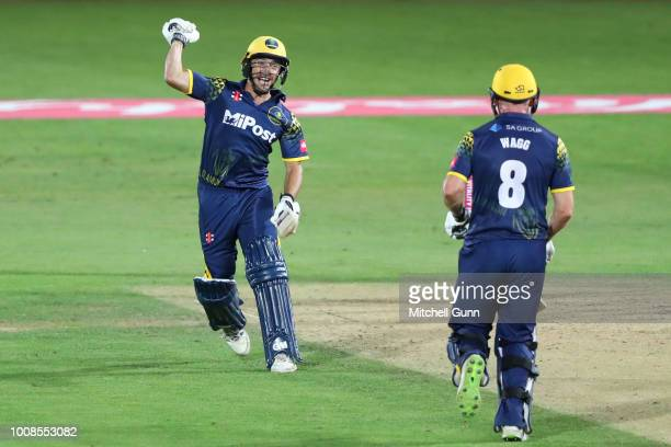 Andrew Salter and Graham Wagg of Glamorgan Celebrate winning the Vitality Blast T20 match between Surrey and Glamorgan at The Kia Oval Cricket Ground...