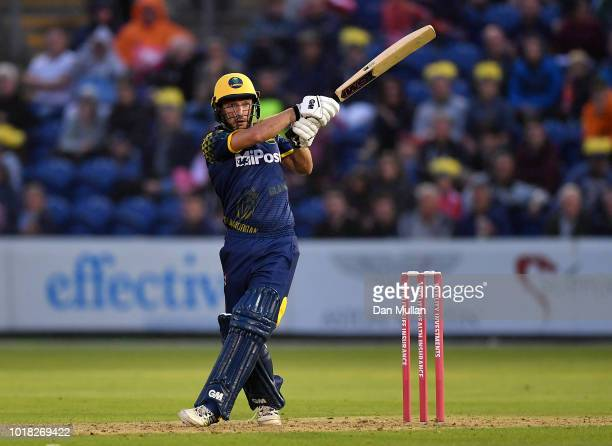 Andrew Salter of Glamorgan bats during the Vitality Blast match between Glamorgan and Surrey at Sophia Gardens on August 17 2018 in Cardiff Wales