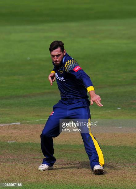Andrew Salter of Glamorgan celebrates after dismissing Tom Abell of Somerset during the Vitality Blast match between Somerset and Glamorgan at the...