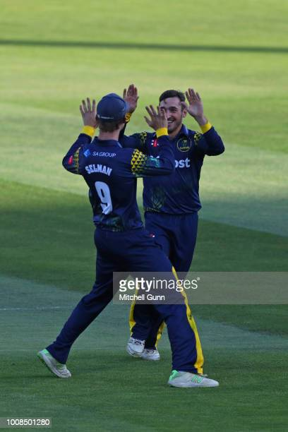 Andrew Salter of Glamorgan celebrates taking the wicket of Jason Roy of Surrey during the Vitality Blast T20 match between Surrey and Glamorgan at...