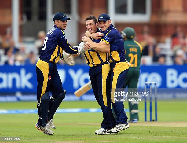Andrew Salter of Glamorgan celebrates taking the wicket of Samit Patel of Notts during the Yorkshire Bank 40 Final match between Glamorgan and...