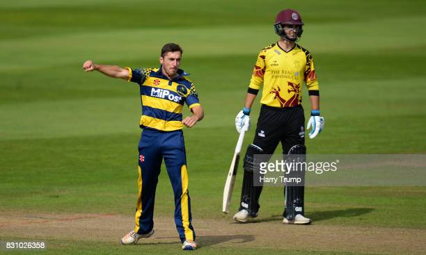 Andrew Salter of Glamorgan celebrates the wicket of Steven Davies of Somerset during the NatWest T20 Blast match between Somerset and Glamorgan at...