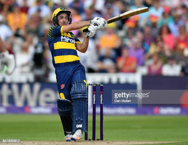 Andrew Salter of Glamorgan in action during the NatWest T20 Blast SemiFinal match between Birmingham Bears and Glamorgan at Edgbaston on September 2...