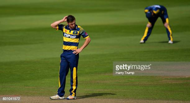 Andrew Salter of Glamorgan reacts during the NatWest T20 Blast match between Somerset and Glamorgan at The Cooper Associates County Ground on August...