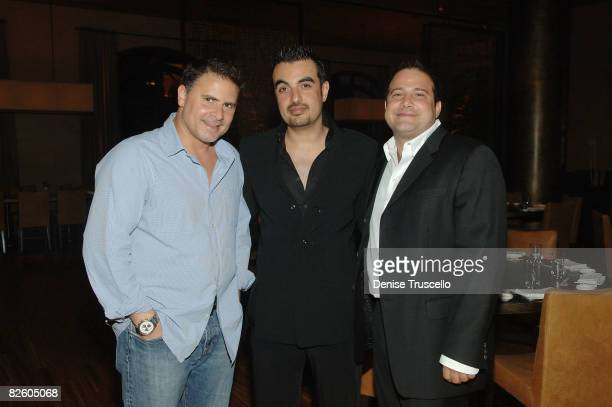 Andrew Sasson Mohammed Ali Al Hashimi and Andy Masi attend the grand opening celebration of Yellowtail Sushi Restaurant Bar At Bellagio Hotel and...