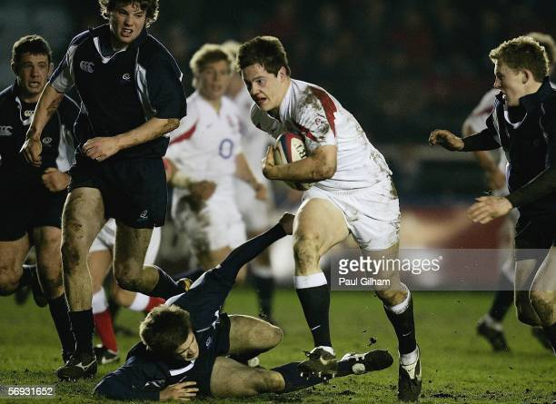 Andrew Saull of England breaks through the Scotland to score a try during the U19 Six Nations match between England U19 and Scotland U19 at the...