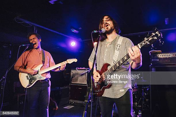 Andrew Savage and Sean Yeaton of Parquet Courts perform on stage <<enter caption here>> on June 17, 2016 in Leeds, England.