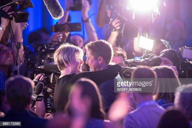 Andrew Scheer and his wife Jill celebrate his win in the Conservative Party of Canada's Leadership race at the party's convention in Toronto Ontario...
