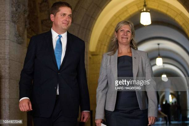 Andrew Scheer Conservative Party and Leader of the Official Opposition walks with Leona Alleslev who crossed the floor and joined the Conservative...