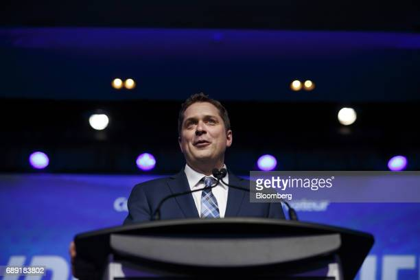 Andrew Scheer leader of Canada's Conservative Party speaks after being named the party's next leader during the Conservative Party Of Canada...