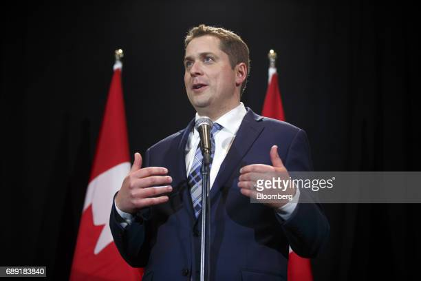 Andrew Scheer leader of Canada's Conservative Party speaks during a news conference following the Conservative Party Of Canada Leadership Conference...