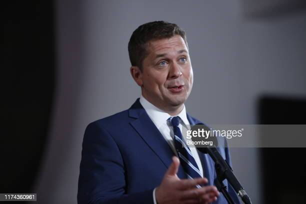 Andrew Scheer leader of Canada's Conservative Party speaks to members of the media following the federal leader's debate in Gatineau Quebec Canada on...