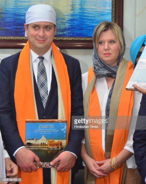 Andrew Scheer Leader Of Opposition in Canada along with his wife Jill Scheer honoured by SGPC during obeisance at Golden Temple on October 10 2018 in...