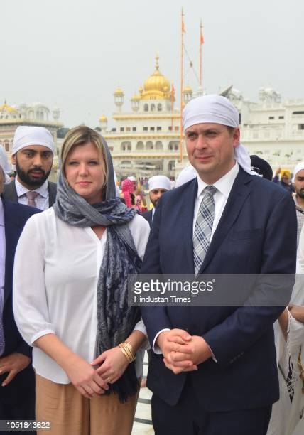 Andrew Scheer Leader Of Opposition in Canada along with his wife Jill Scheer pays obeisance at Golden Temple on October 10 2018 in Amritsar India