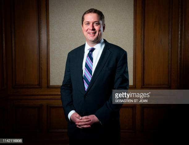Andrew Scheer leader of the Conservative Party of Canada poses during a photo session at the Montreal Council on Foreign Relations at the Marriott...