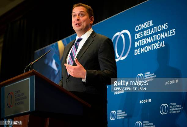 Andrew Scheer leader of the Conservative Party of Canada speaks at the Montreal Council on Foreign Relations at the Marriott Chateau Champlain in...